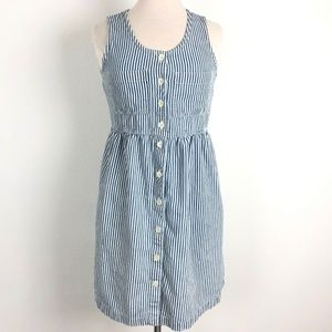Dresses & Skirts - 🔥Vtg Stripe Dress Match Blue White Button Down